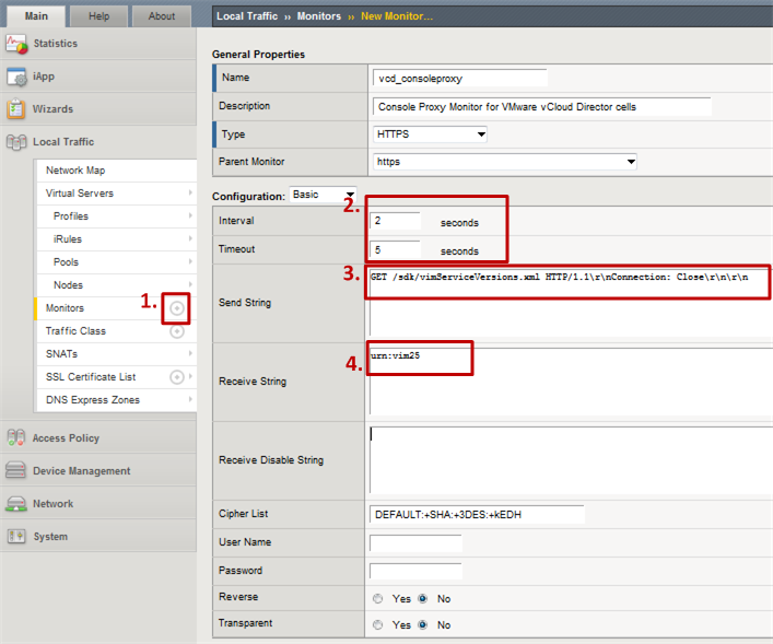 Figure 6: Custom Console Proxy monitor in F5 Big-IP for VMware vCloud Director