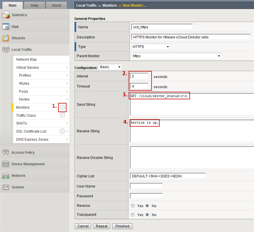 Figure 5: Custom HTTP monitor in F5 Big-IP for VMware vCloud Director