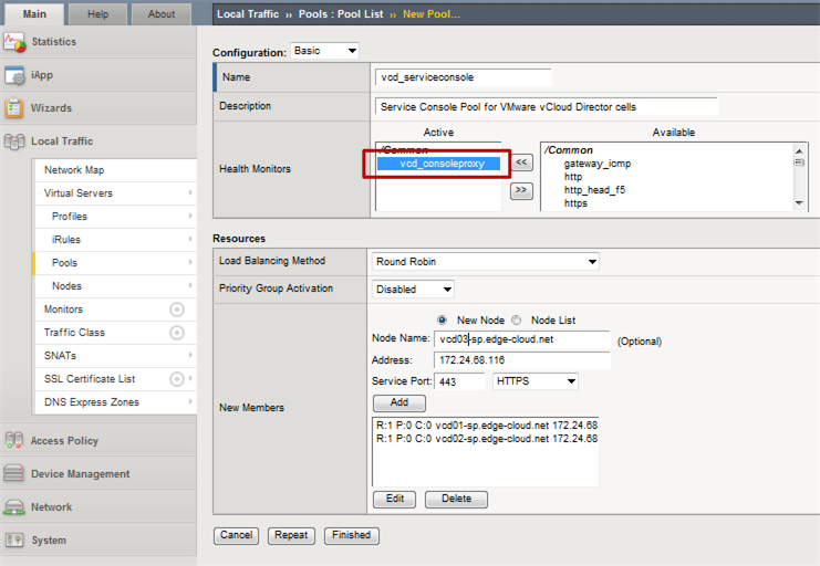 Figure 9: Console Proxy pool in F5 Big-IP for VMware vCloud Director