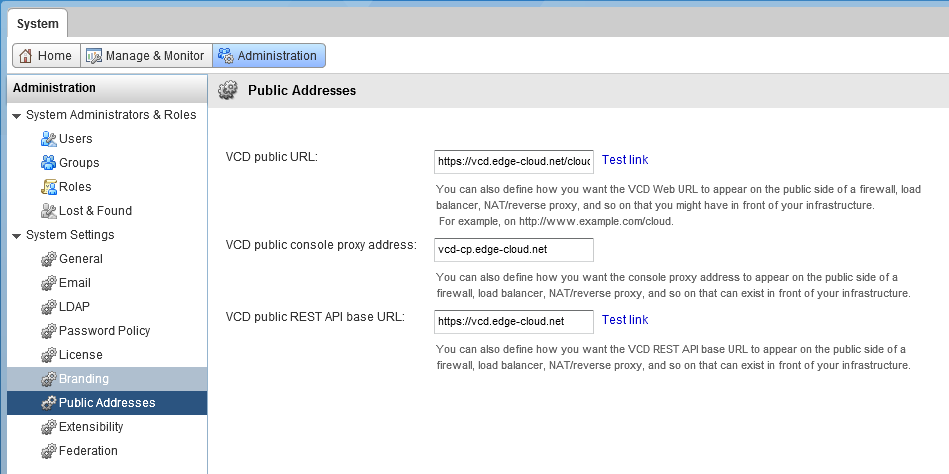 Figure 18: Configuring Public Addresses in vCD