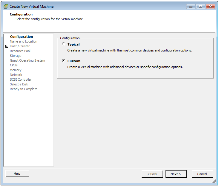 Figure 1: Create a new custom VM