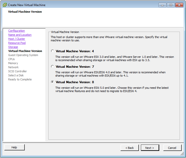 Figure 2: Virtual Machine Version