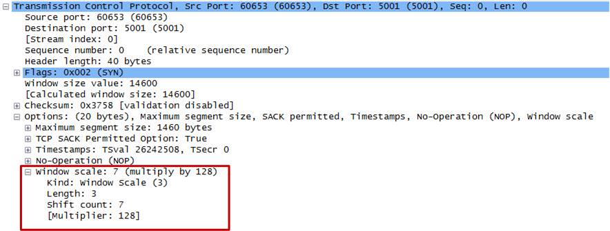 Figure 3: TCP Window scale in Wireshark