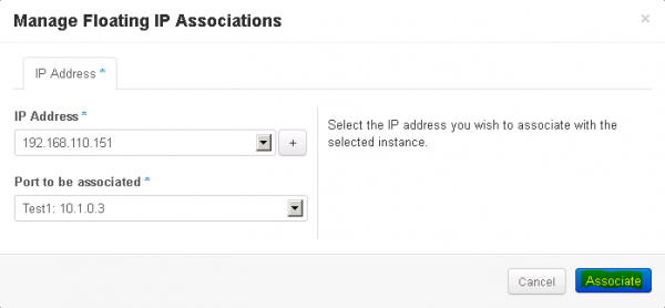 Figure 14: Associate a floating IP in OpenStack - Step 4