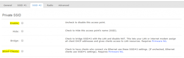 Figure 6: CloudTrax Private SSID settings