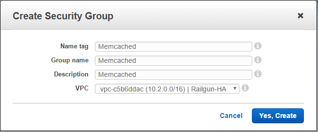 Figure 7: Create a Security Group for Memcached