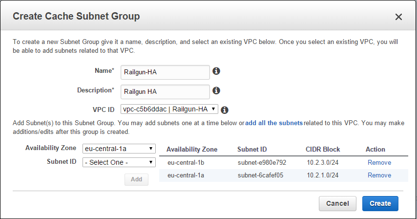 Figure 11: Create a Cache Subnet Group for Memcached