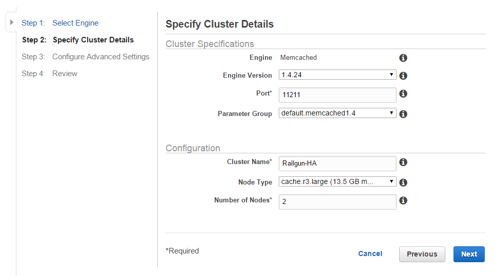 Figure 13: Create an ElastiCache cluster with the engine Memcached - Step 2