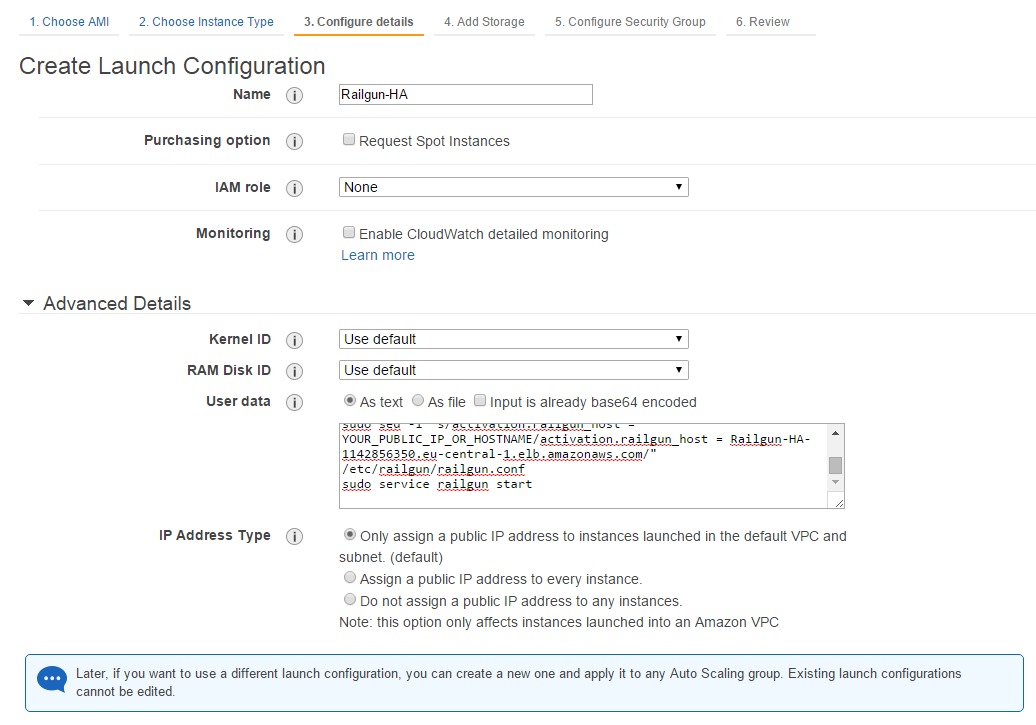 Figure 24: Create a Launch Configuration - Step 2